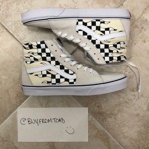 Vans Sk8-Hi Checkerboard Flame White Skate Shoes